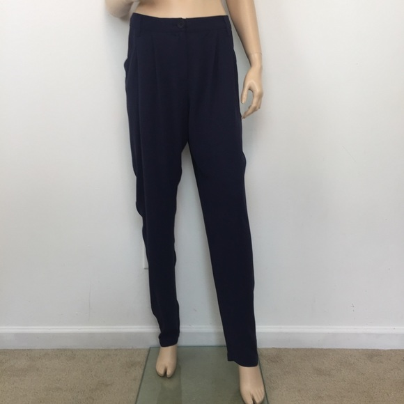 1ead85b0424 Eileen Fisher Navy Pleat slouchy Silk Pant Large